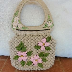 Crochet Floral Bag with Wooden Handles